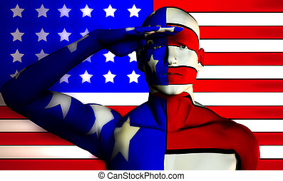US Man - A man with the American flag on his body, a great...