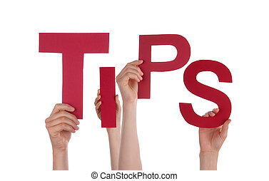Hands Holding Tips - Many Hands Holding the Red Word Tips,...