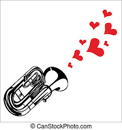 Heart love music trumpet playing a song for valentine day...