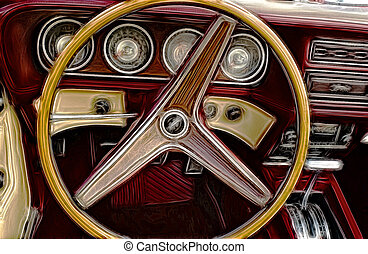 1970's Dashboard - Abstract image of a 1970's car dashboard