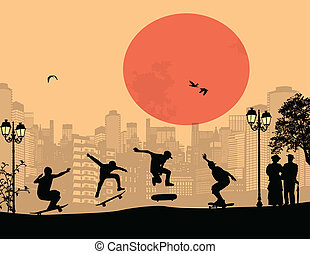 Skater silhouettes in front of city landscape vector...