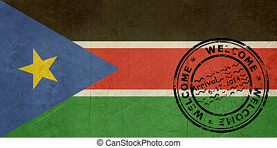Welcome to South Sudan flag with passport stamp