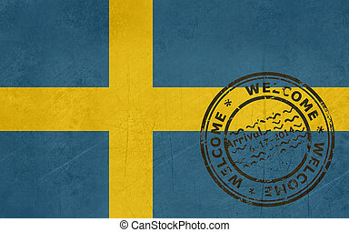 Welcome to Sweden flag with passport stamp
