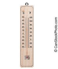 clásico, de madera, termómetro, en, blanco, Plano de fondo