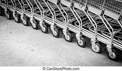 Wheel shopping cart - Focus on wheel shopping cart