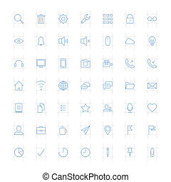Thin icons - Vector set of modern simple thin icons. Design...