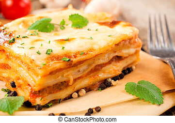 Fresh lasagna - Fresh homemade lasagna with beef...