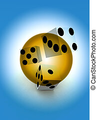 Dice - A image of a set of dice that have been thrown, it...