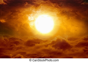 Hell sunset - Abstract apocalyptic background - big glowing...