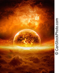Exploding planet - Abstract apocalyptic background - burning...