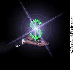 Dollar Hand - An American Dollar sign held in a...