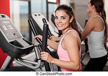 I love working out at the gym - Beautiful young brunette...