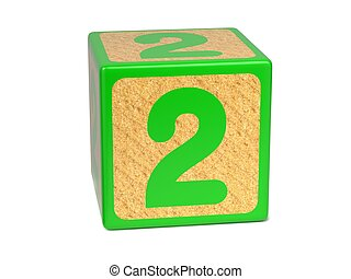 Number 2 - Childrens Alphabet Block - Number 2 on Green...