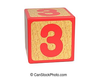 Number 3 - Childrens Alphabet Block. - Number 3 on Red...
