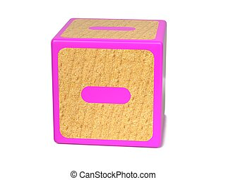 Minus Sign - Childrens Alphabet Block. - Minus Sign on Pink...
