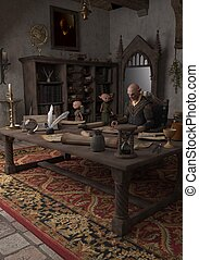 Goblin Alchemist and servants in his study, 3d digitally...