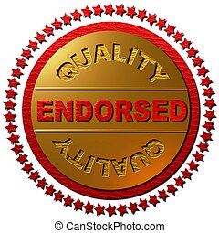 Endorsed Quality red stars - A 3 dimensional golden seal...