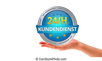 24 hour customer service (In German - A person holding a 24...