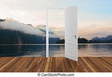 Landscape behind the opening door,3
