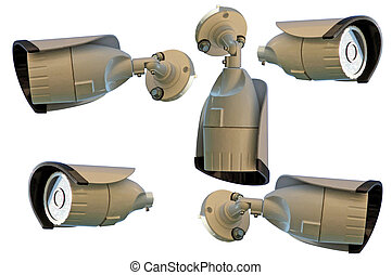 security cameras on a white background