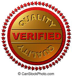 Verified Quality - A 3 dimensional golden seal with a circle...