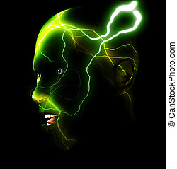Energy Head - An abstract image of a man with energy or...