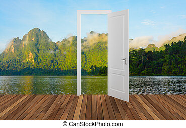 Landscape behind the opening door,3