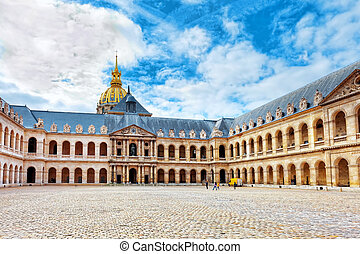 Courtyard of Les Invalides hotel . Paris, France. -...