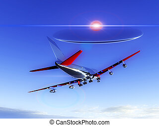 Plane Flying With UFO - A plane flying high in the sky with...