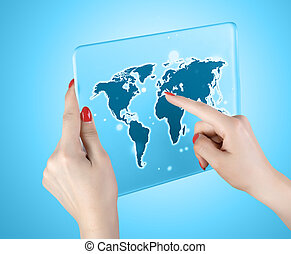 woman hand touch world map and connection