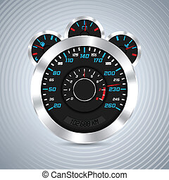 Abstract dashboard with metallic elements