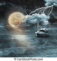 小船, 風暴, 晚上, 海洋, 月亮