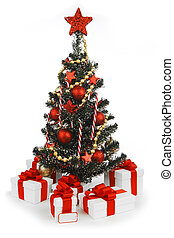 Decorated Christmas tree on white background - Decorated...