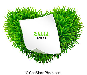 Grassy heart with a clean sheet of paper