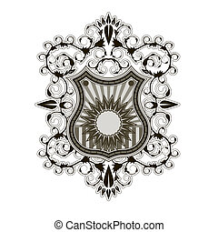 Ornate shield label design template