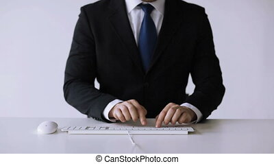businessman hands typing on keyboard - business, office,...