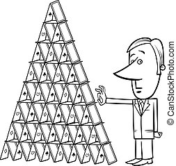 businessman and house of cards cartoon - Black and White...