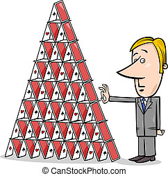 businessman and house of cards cartoon - Concept Cartoon...