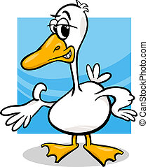 duck or goose cartoon farm bird - Cartoon Illustration of...