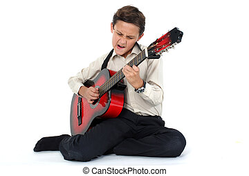 young guitar player performing very passionately on a white...