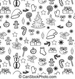 Christmas doodles seamless black on white