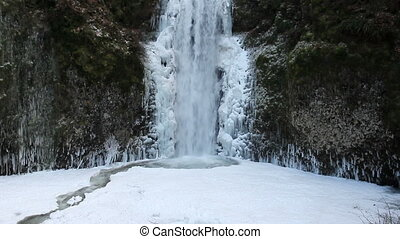 Multnomah Falls Frozen in Winter - Beautiful Multnomah Falls...