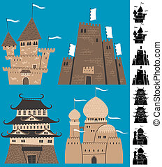 Cartoon Castles - Set of cartoon castles. Silhouette...