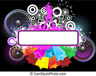 Party background - Silhouette of a dancing female on a music...