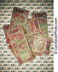 Indian currency, 20 twenty Rupees Banknotes