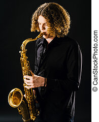 Teenager playing the saxophone