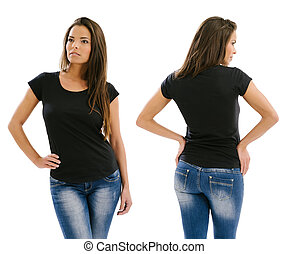 Beautiful model posing with blank black shirt