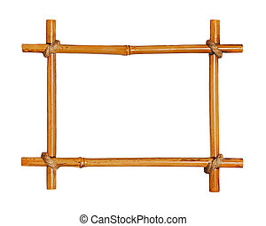 Bamboo photo frame isolated on white background Closeup