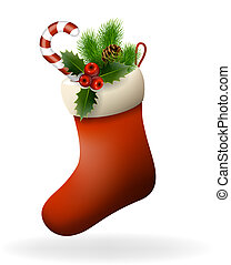 Red Christmas sock with holly berries, candy and fir branch...