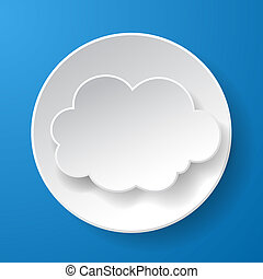 Abstract paper speech bubble in a shape of a cloud on blue background. Vector eps10 illustration